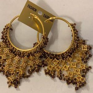 Chandelier golden color earrings